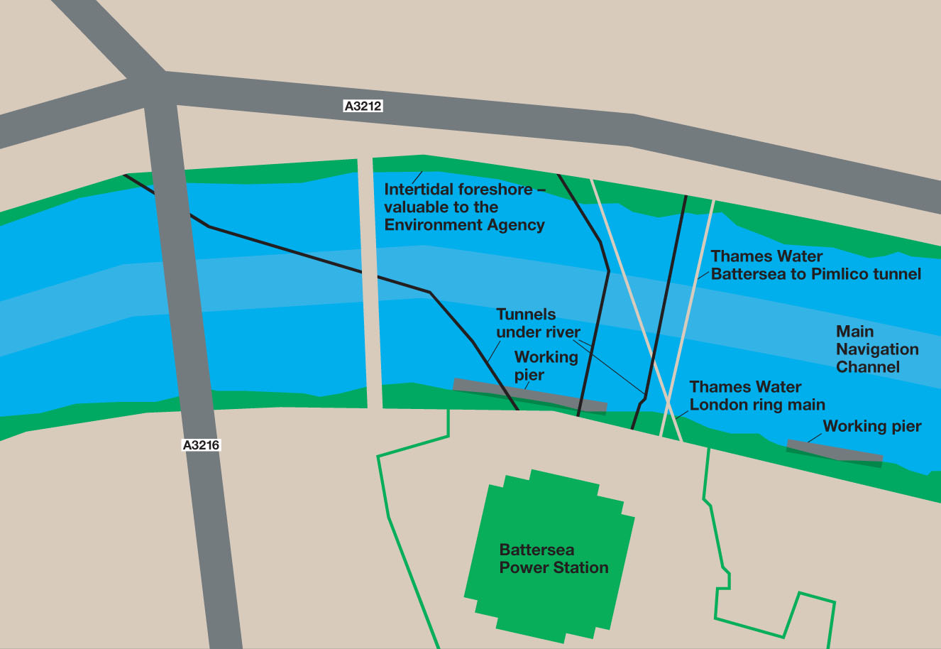 Map showing potential obstacles for the proposed bridge